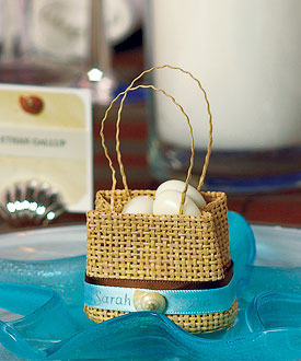 Natural Miniature Woven Beach Bags (Set of 6)-beach wedding favor bags