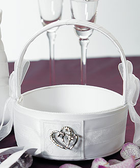 Classic Double Heart Flower Girl Basket-flower girl basket, double heart flower girl basket, heart theme wedding ideas