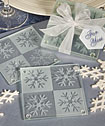 Lustrous snowflake glass coaster set of 2-
