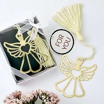 BOOK LOVERS COLLECTION GOLD GUARDIAN ANGEL BOOK MARK-Gold metal cross themed white tassel key chain