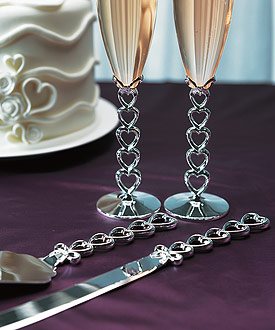Silver Plated Stacked Hearts Cake Serving Set-wedding cake knife and server set, heart theme wedding cake server set, heart theme weddings, heart theme wedding ideas