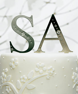 Brushed Silver Monograms with Crystals-monogram cake toppers, weddingstar cake topper, bridal shower cake toppers, cake topper decorations, unique wedding cake toppers