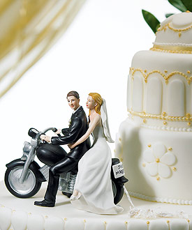 Motorcycle Get-away Wedding Couple Figurine - Wedding Cake Topper-Wedding cake toppers, Wedding cake toppers humorous, Wedding cake toppers bride and groom, Wedding cake toppers vintage, Wedding cake toppers cheap, Wedding cake topper ideas, Wedding cake toppers funny, Wedding cake toppers and decorations, unique wedding cake toppers, beach wedding cake toppers