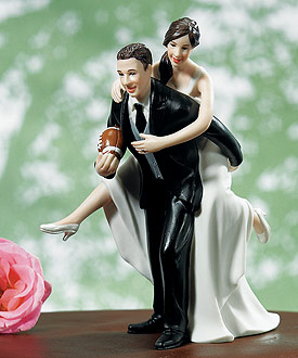 Playful Football Wedding Couple Figurine - Wedding Cake Topper-Wedding cake toppers, Wedding cake toppers humorous, Wedding cake toppers bride and groom, Wedding cake toppers vintage, Wedding cake toppers cheap, Wedding cake topper ideas, Wedding cake toppers funny, Wedding cake toppers and decorations, unique wedding cake toppers