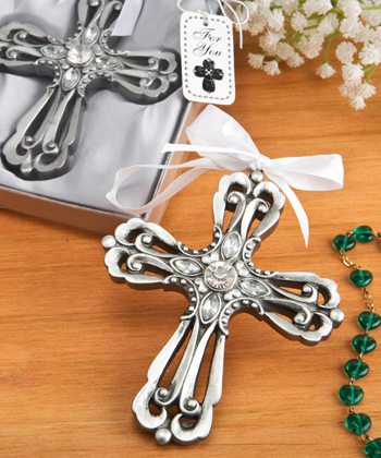 Silver Cross Ornament with Antique Finish-Silver Cross Ornament with Antique Finish,Favors For Communions, Favors For Christenings, Favors For Baptisms, Baptism & Christening Favors, promo items, giveaway ideas, Sunday school gifts, church marketing