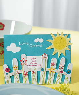 Love Grows Picket Fence with Seeded Paper Sun ( Set of 12 )-garden wedding ideas, green wedding favors, natural focused wedding card holders, seeded card favors, weddingstar favors