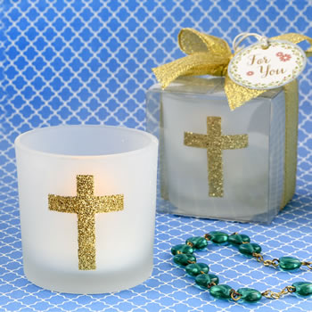 CROSS THEMED WHITE FROSTED GLASS CANDLE VOTIVE HOLDER-Favors For Communions, Favors For Christenings, Favors For Baptisms, Baptism  favors, Christening Favors, Sunday school gifts, church marketing