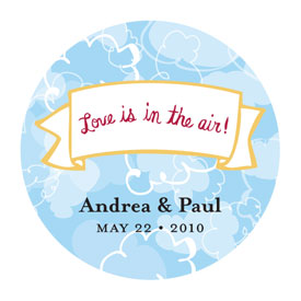 Love is in the Air Round Cloud Sticker (set of 50)-
