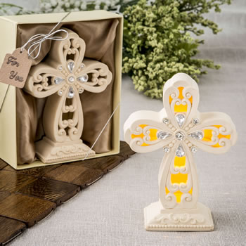 Glowing Ivory color standing cross statue with Led Light-Glowing Ivory color standing cross statue with Led Light, Favors For Christenings, Favors For Baptisms, Baptism & Christening Favors, promo items, giveaway ideas, Sunday school gifts, church marketing