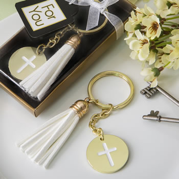 Gold metal cross themed white tassel key chain-Gold metal cross themed white tassel key chain