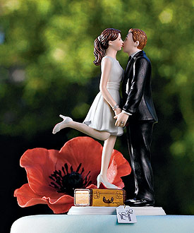 A Kiss and We're Off! Figurine - Wedding Cake Topper-Destination Wedding Cake Topper