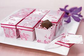Asian Pink Brocade Wedding Favor Boxes - Set of 6-Asian Pink Brocade Wedding Favor Boxes