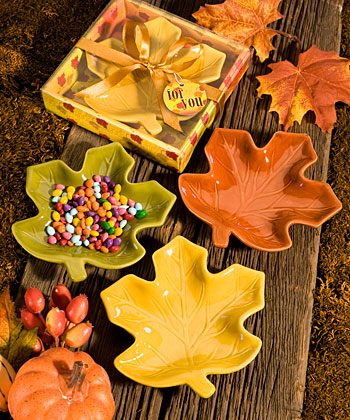 Autumn Magic Collection leaf candy dishes-