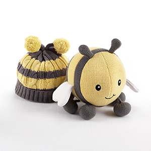 """Critter Couture Caps by Baby Aspen"" Knit Bee Plush Toy and Knit Cap for Baby-Critter Couture Caps by Baby Aspen Knit Bee Plush Toy and Knit Cap for Baby"