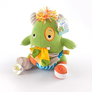"""Calvin the Closet Monster"" Knit Baby Socks and Plush Monster Gift Set-Calvin the Closet Monster Knit Baby Socks and Plush Monster Gift Set"