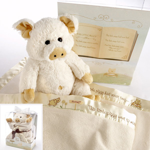 """Pig in a Blanket"" Two-Piece Gift Set in Adorable Vintage-Inspired Gift Box-new born baby gift"