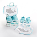 """Chomp & Stomp"" Shark Bib and Booties Gift Set-Chomp & Stomp Shark Bib and Booties Gift Set"
