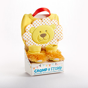 """Chomp & Stomp"" Lion Bib and Booties Gift Set-Chomp & Stomp Lion Bib and Booties Gift Set"