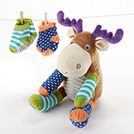 """Moose Tracks"" Moose Plush with Socks for Baby-Moose Tracks Moose Plush with Socks for Baby"