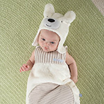 """Beary Snuggly"" Luxe Polar Bear Snuggle Sack and Hat-Beary Snuggly Luxe Polar Bear Snuggle Sack and Hat"