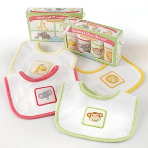 Animal Crackers for Messy Snackers 4-Piece Bib Set-