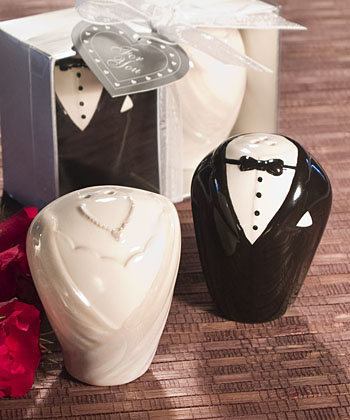 Adorable Bride & Groom Salt & Pepper Shaker Favors-