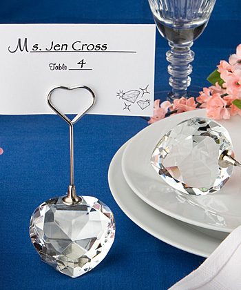 Crystal Collection heart design place card holders-Crystal Collection heart design place card holders