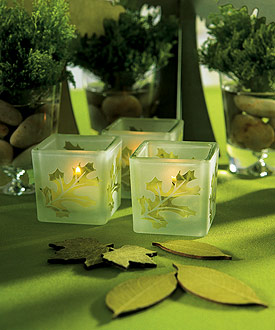 Deep Sandblasted Glass Leaf Cube Tea Light Holders (Set of 8)-