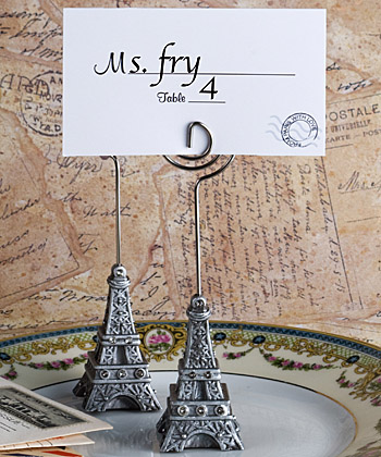 Eiffel Tower place card holder favors-Eiffel Tower place card holder favors destination wedding favor,Double Fish Card Holders with Brushed Silver Finish
