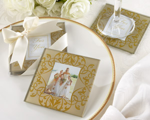 """Golden Brocade"" Elegant Glass Photo Coasters-Gold Elegant Glass Photo Coaster favors,bridal shower ideas, bridal shower wedding favors, wedding shower favors, bridal shower gifts, bridal shower decorations, shower favors"