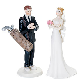 Golf Fanatic Bride and Groom Cake Toppers-Golf Fanatic Bride and Groom Cake Topper