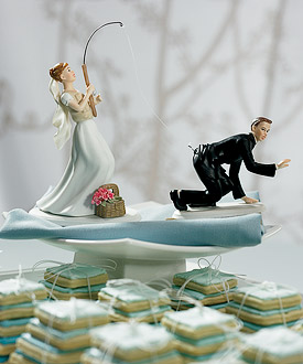 Gone Fishing Bride and Groom Cake Toppers-Gone Fishing Bride and Groom Funny Cake Toppers