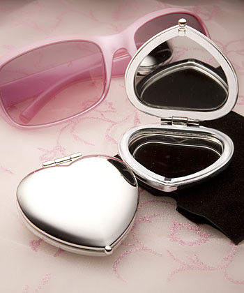 Heart Shaped Compact Mirror Favors-Heart Shaped Compact Mirror Favors