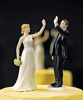 High Five - Bride and Groom Wedding Cake Toppers-Bride and Groom Wedding Cake Toppers