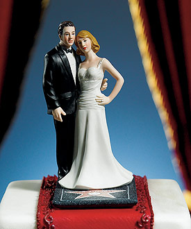 "Hollywood Glamour Couple ""Stars for a Day"" Figurine-Hollywood Glamour Couple Stars for a Day Wedding Cake Topper"