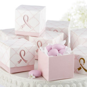 """In Favor of a Cure"" Pink Ribbon Favor Boxes(set of 12)-In Favor of a Cure Pink Ribbon Favor Boxes(set of 12)"