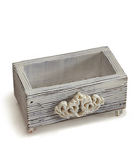 Jewel Footed Wooden Boxes with Aged White Finish-Jewel Footed Wooden Boxes with Aged White Finish