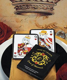 King of Hearts Queen of Diamonds Cork Back Coaster in Gift Packaging-King of Hearts Queen of Diamonds Cork Back Coaster in Gift Packaging