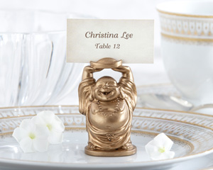 """""""Laughing Buddha"""" Golden Buddha Place Card/Photo Holder (Set of 4)-placecards, reception card, place card holders, card place holders, wedding table names, placecard holders, wedding table numbers, place card holder, wedding table number ideas, Asian wedding table cards"""