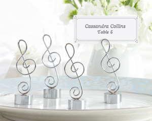 """Love Songs"" Silver-Finish Music Note Place Card/Photo Holder (Set of 4)-music party favors,placecards, reception card, place card holders, card place holders, wedding table names, placecard holders, wedding table numbers, place card holder, wedding table number ideas, wedding table cards"