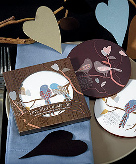 Love Birds Cork Back Coaster Set in Gift Packaging-Love Birds Cork Back Coaster Set in Gift Packaging
