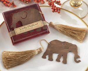"""Lucky Elephant"" Metal Bookmark with Elegant Gold Silk Tassel-Asian favor ideas, elephant favor"