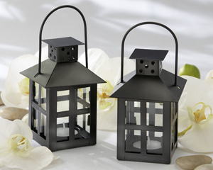 Luminous Black Mini-Lantern Tea Light Holder-lanterns, favor favor, white lanterns, favors, candles for a wedding, wedding lanterns