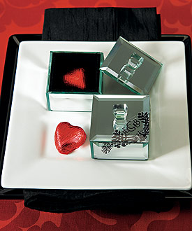Miniature Beveled Mirror Box with Lid - Set of 4-wedding favor box