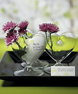 Miniature Clear Blown Glass Heart Vase - Set of 4-