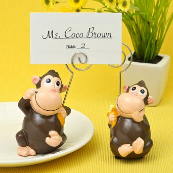 HAND PAINTED CERAMIC MONKEY PLACE CARD/PHOTO HOLDERS-HAND PAINTED CERAMIC MONKEY PLACE CARD/PHOTO HOLDERS