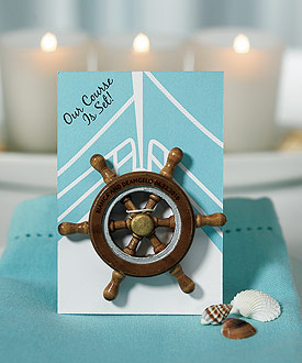 """Our Course is Set"" Boat Wheel Magnet Favor Gift ( Set of 6 )-beach wedding favor ideas, unique wedding favors"