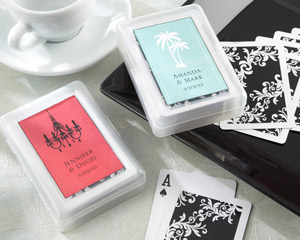 Perfectly Suited Personalized Playing Cards in Travel Case-Playing Cards Wedding Favors
