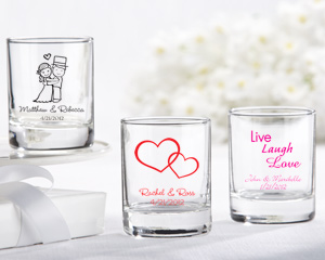Personalized Shot Glass - Votive Holder-personalized wedding wine glassware, personalized wedding wine favors, cheap personalized wedding favors, bulk discount wedding favors, personalized baby shower favors