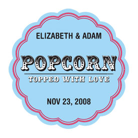 Popcorn - Topped with Love Sticker - Set of 36-
